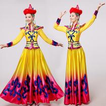 高档蒙古族舞蹈演出服装筷子舞表演服蒙古袍大摆裙蒙古族服装新款
