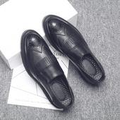 秋季韩版潮流套脚一脚蹬休闲鞋英伦布洛克雕花皮鞋男内增高流苏鞋