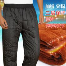 冬季中老年棉裤男外穿加绒加厚老人保暖防寒宽松高腰爸爸冬装裤子