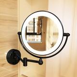 浴室化妆镜带灯LED双面补光壁挂伸缩可折叠卫生间放大美容镜酒店
