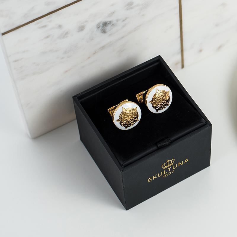 现货SKULTUNA瑞典皇室品牌都译皇家系列男士镀金黄铜衬衫袖扣礼物