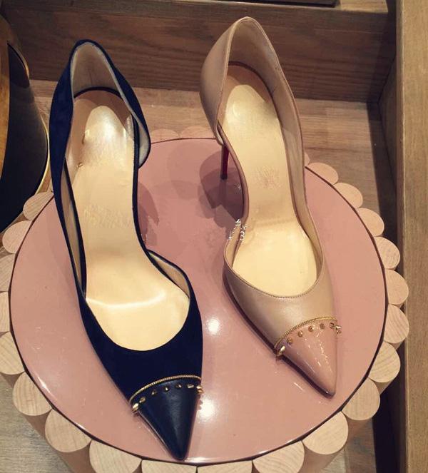 2016新款裸色侧空铆钉尖头高跟鞋细跟女黑色拼色小码女鞋33大码40