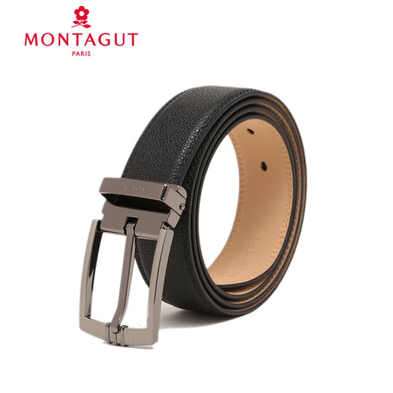 Montagut/梦特娇新款商务休闲男士皮带青年针扣裤带男百搭腰带