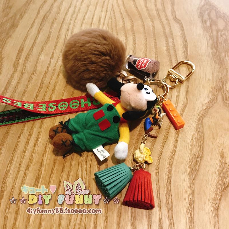 稀有迪士尼經典高飛鑰匙扣包包掛件可愛毛絨掛飾情侶女生禮物包郵
