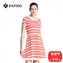 圆领休闲运动连衣裙CP6327K01 条纹修身 夏季新品 RAPIDO专柜同款
