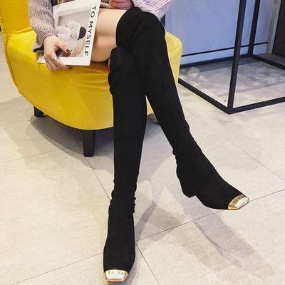 韩版长靴女过膝2018秋冬新款金属头长筒瘦腿弹力靴方头粗跟女靴