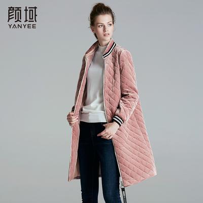 颜域棉衣女装2017冬季新款丝绒棉服女轻薄棉袄加厚中长款大码外套