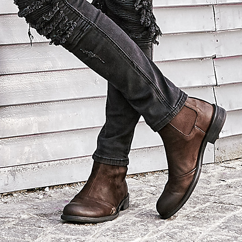 男靴加絨短靴
