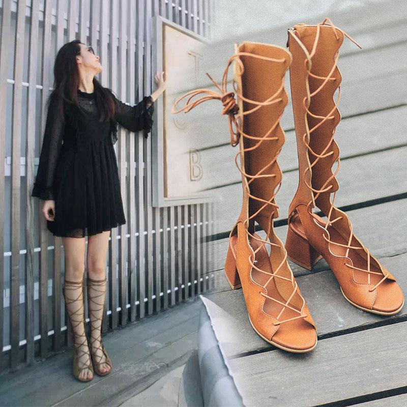 2018凉鞋女夏露趾厚底欧美镂空中跟女鞋系带粗跟交叉绑带罗马凉靴