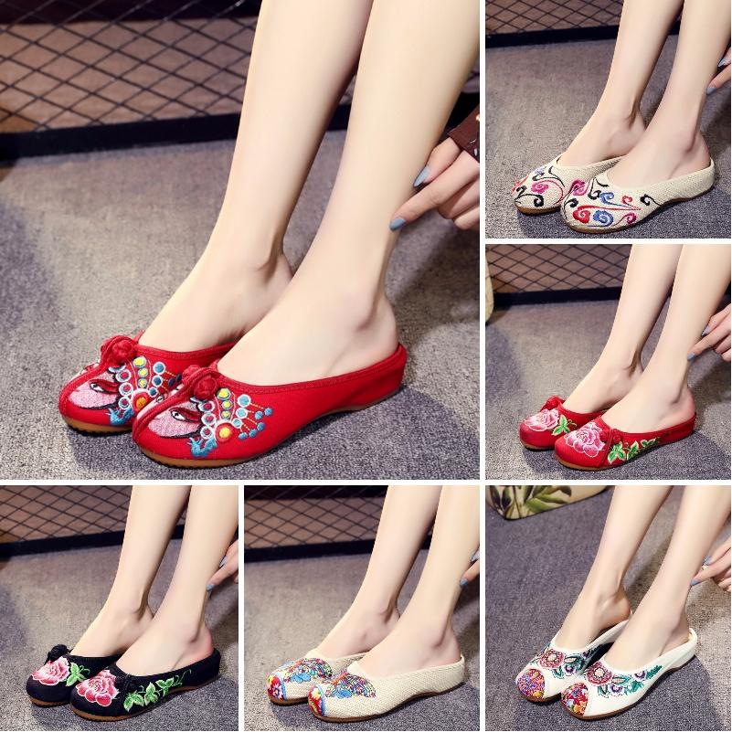 新款夏老北京绣花布拖鞋包头居家用半拖鞋女民族风外穿时尚凉拖鞋图片