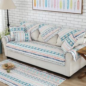 简约现代全棉斜纹格子布绗缝沙发垫防滑 新款布艺坐垫沙发巾定做