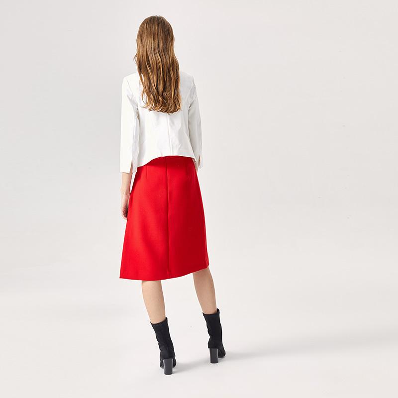 谷邦春季新款白色黑色上衣七分袖短款外套女OL风休闲西装
