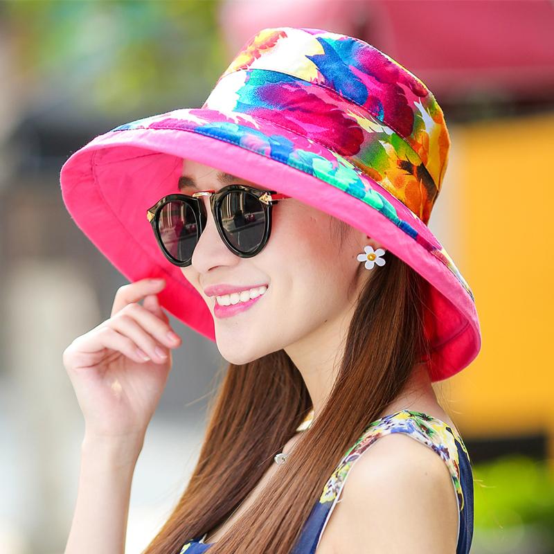 带带鱼可折叠双面帽子女春夏天遮阳帽沙滩帽女士出游防晒田园布艺