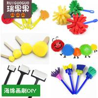 Sponge painting brush painting sponge seal brush paint parent-child early education kindergarten graffiti tool painting material