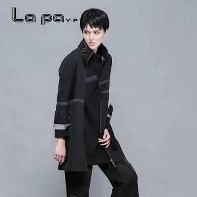lapayp 秋装新品撞色压线帅气长款牛仔外套休闲上衣时尚风衣女