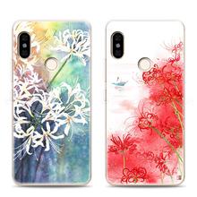 小米红米note5手机壳软胶全包边女款文艺复古典中国风水彩彼岸花