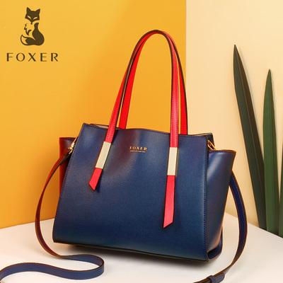 金狐狸正品牌女包时尚名牌手提包包女2019新款真皮高档撞色牛皮包