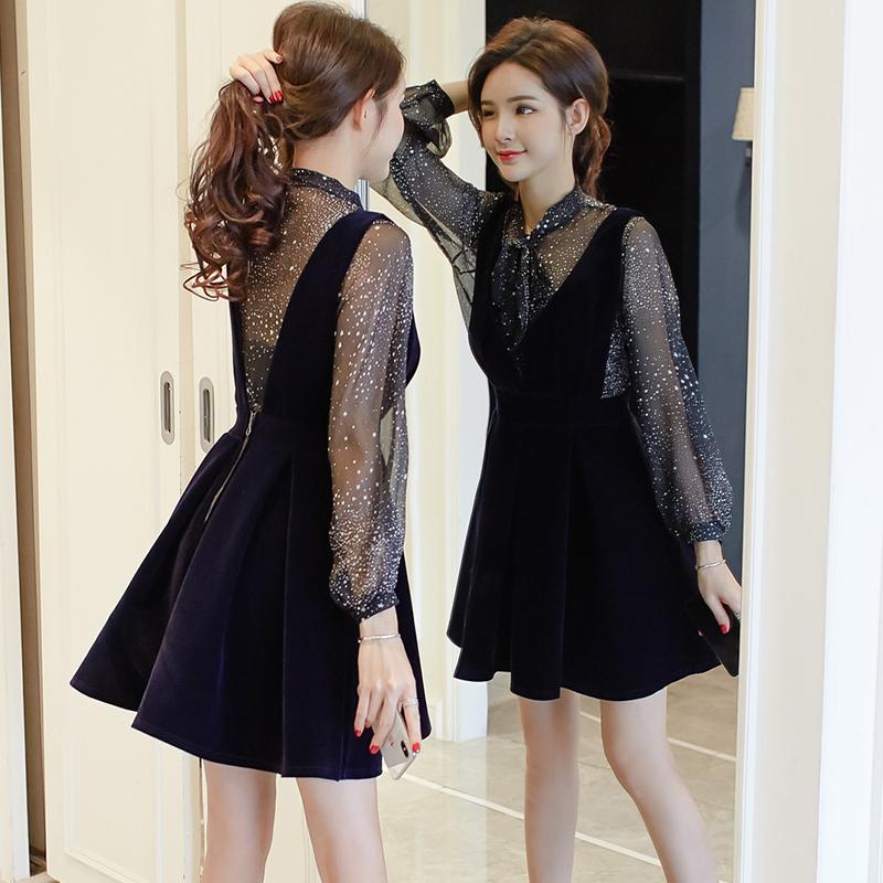 黑色高腰蓬蓬連衣裙