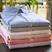 朗蒙夏季纯棉牛津纺男士短袖衬衫休闲衬衣修身男装纯色打底白寸衫图片