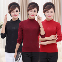Women's Autumn Clothes, Long Sleeves, Middle-aged Women's Wear, Mother's Clothing, Cotton Semi-high Collar Pure T-shirt, Middle-aged People's Simple Underwear