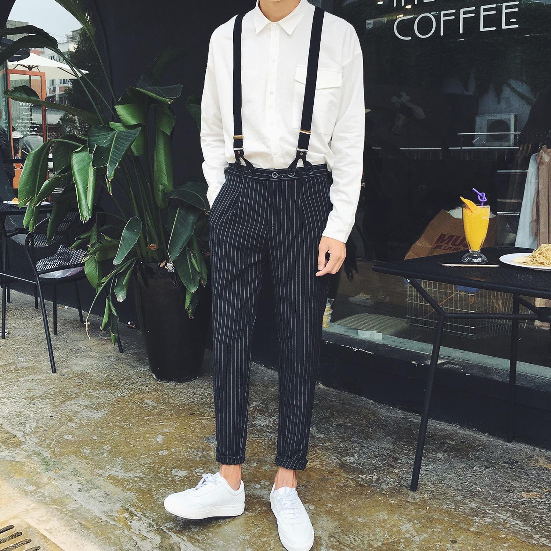 2018韩国chic风复古学院新款条纹格子宽松潮流百搭都市背带裤男