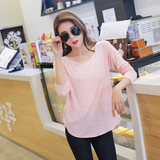 Female pajamas Spring and Autumn slub cotton long sleeve coloured cotton leisure loose and large size household suit can be worn outside