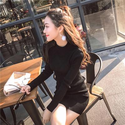 秋冬季毛衣女紧身中长款长袖半高领百搭黑色修身包臀针织打底衫