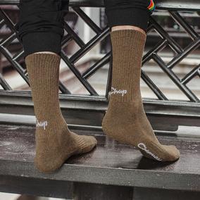 加厚毛圈袜子男女冬季纯棉中筒袜日系基础纯色网眼透气吸汗运动袜