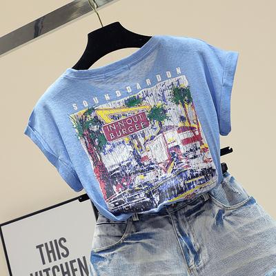 夏季新款韩版宽松显瘦前后字母印花短袖T恤女趣味纯棉蝙蝠袖上衣