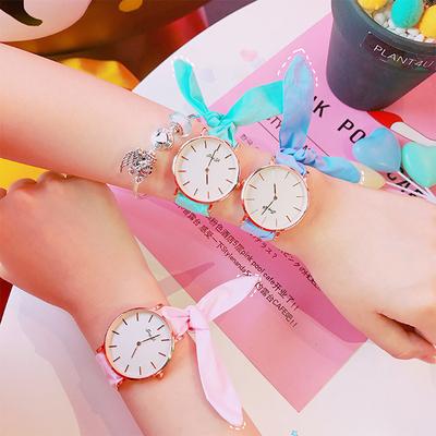 韩版日系原宿可爱兔子蝴蝶结绑带软妹手表简约软妹清新女学生腕表