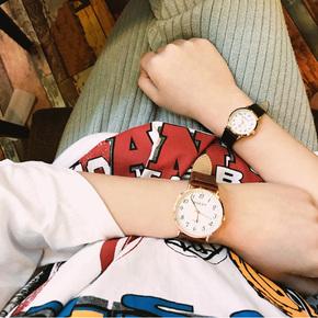 韩国复古简约潮流石英表腕表休闲百搭圆盘男女情侣表学生皮带手表