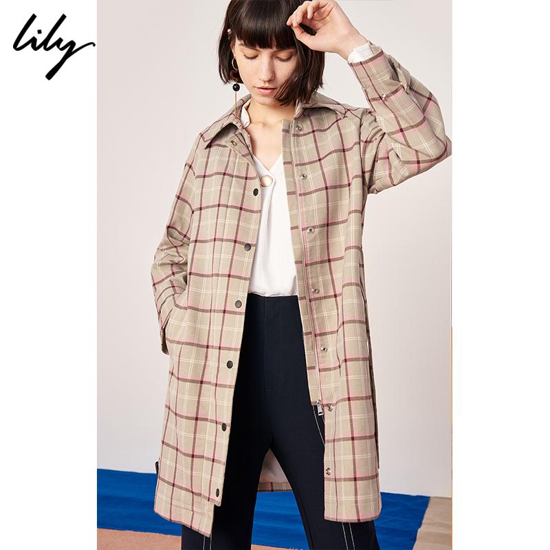 Lily2019春新款女装OL气质英伦浅卡其格纹系带H型风衣外套1912图片