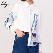 Lily2019春新款女装复古通勤宽松直筒白色单排扣印花长袖衬衫4915