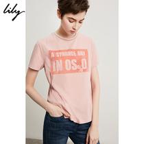 Lily2018夏新款女装不规则莲粉侧系带字母印花T恤118210A8720