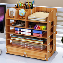 Office Desktop storage Box wooden file rack finishing office Supplies cherry wood Other storage box is green
