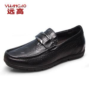远高内增高男鞋6cm商务休闲鞋豆豆鞋软底牛皮男士真皮鞋增高鞋