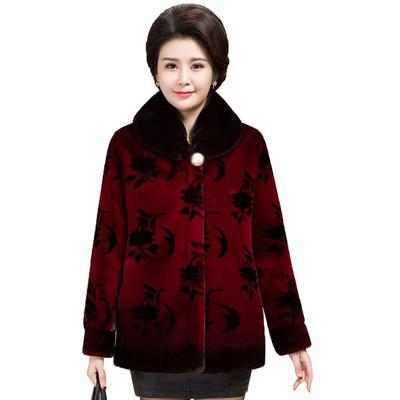 中老年人女装冬大码奶奶外套60岁70妈妈貂皮80老人皮草仿貂毛大衣