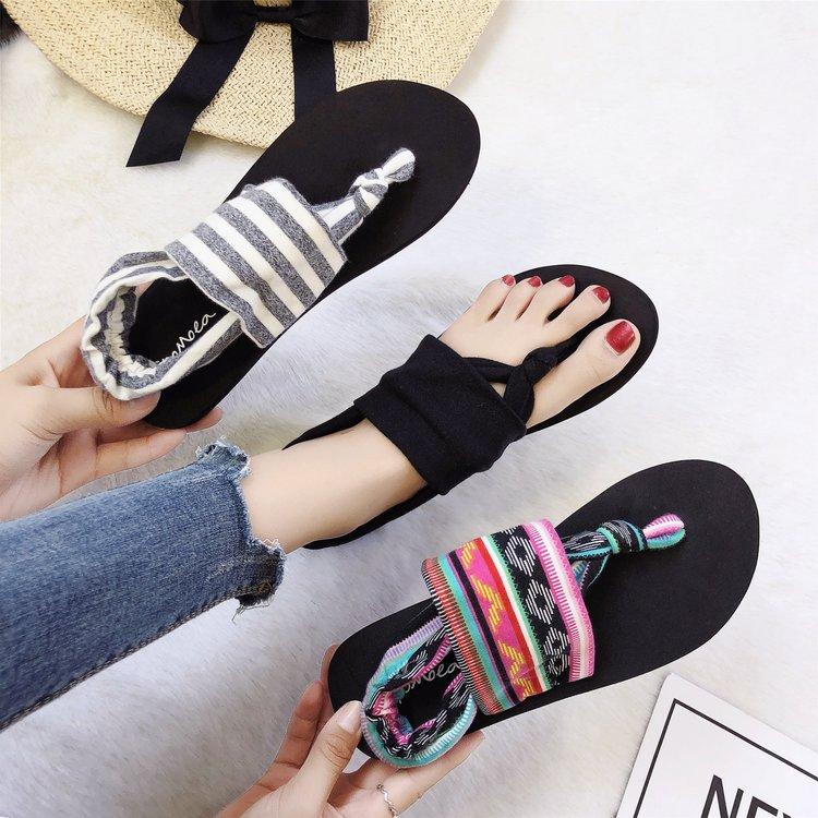凉鞋女夏外穿2018平底罗马波西米亚人字拖新款韩版沙滩凉拖女鞋子