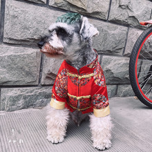 Hand-made pet New Year's red Tang suit with thick winter dog clothes and cat cotton clothes