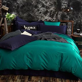 全棉纯色AB面四件套纯棉简约北欧风双拼素色床品裸睡双人床单被套