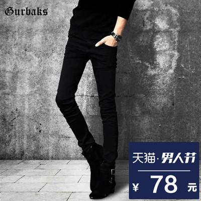 Gurbaks黑色牛仔裤男 夏季薄款长裤韩版修身潮流小脚裤休闲男裤子
