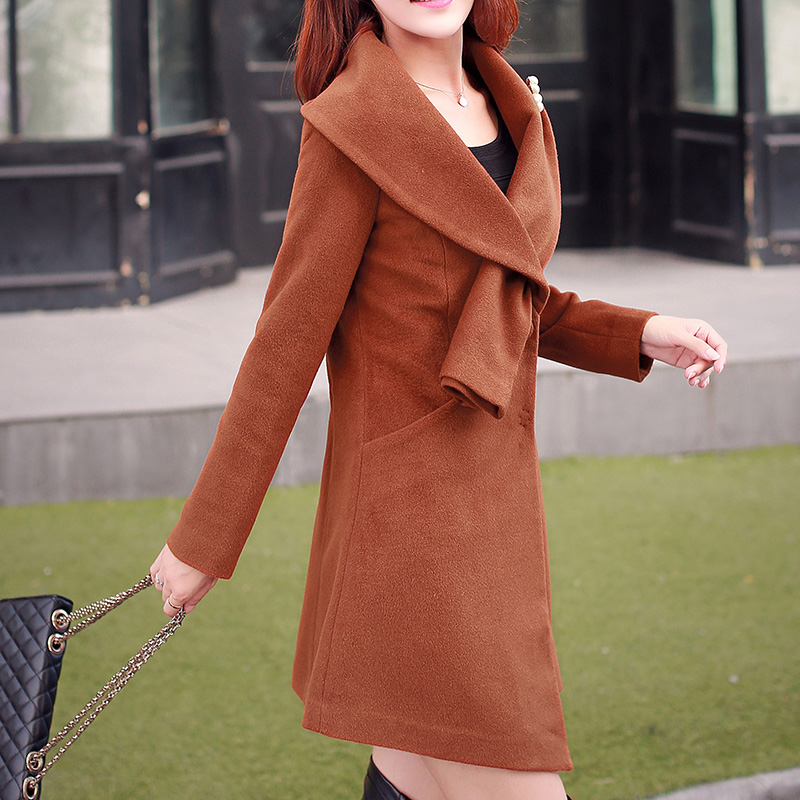 Benny fall and winter women Style coat coat Korean version of the long paragraph large size wool coat female