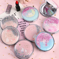 Korea creative ladies carry-on mirror cartoon cute student mini portable folding small mirror double mirror