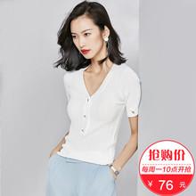 【76元新品】梵希蔓针织衫短款2018夏季新款韩版百搭短袖修身上衣