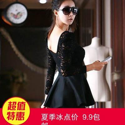 2018夏季新款韩版蕾丝拼接长袖修身荷叶边包臀显瘦连衣裙9.9女装