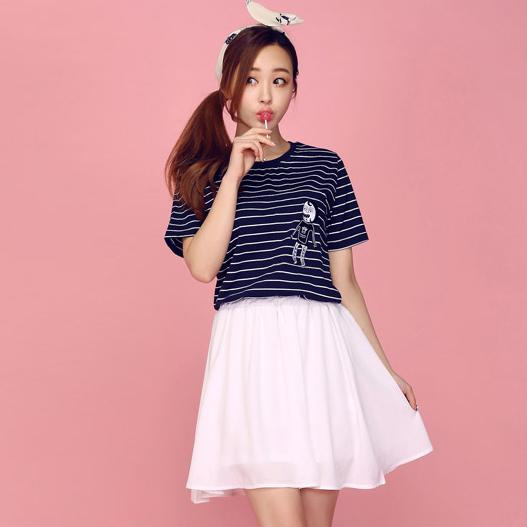 韩国版拼接条纹短袖