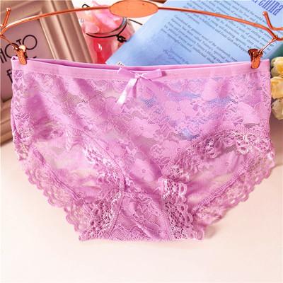 性感内裤女士透明网纱蕾丝面料中腰内裤 纯棉档速干诱惑三角内裤