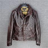 jacket青果领复古阿美咔叽做旧法国进口牛皮男款 日版cossack 夹克