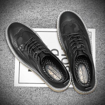 男鞋子夏季韩版潮流英伦百搭布洛克皮鞋男透气男士休闲鞋板鞋新款