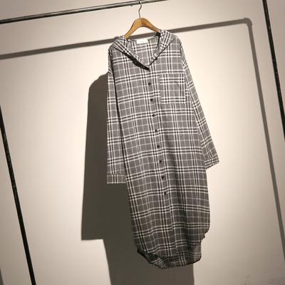 哦呀苏米 欧美休闲风连帽格子衬衣女秋装长款宽松大码长袖衬衫裙